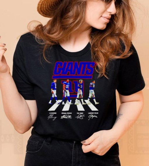 New York Giants Eli Manning Michael Strahan Phil Simms Lawrence Taylor signatures Abbey Road shirt